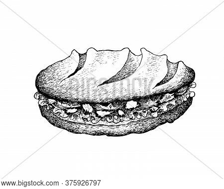 Illustration Hand Drawn Sketch Of Delicious Homemade Freshly Baguette Sandwich With Tuna Salad, Toma