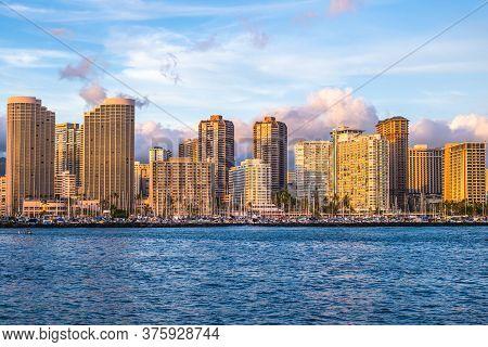 Cityscape Of Honolulu In Oahu Island, Hawaii, Us