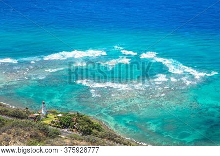Lighthouse And Sea Scenery At Oahu, Hawaii, Us