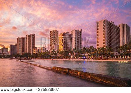 Skyline Of Honolulu At Waikiki Beach, Hawaii, Us