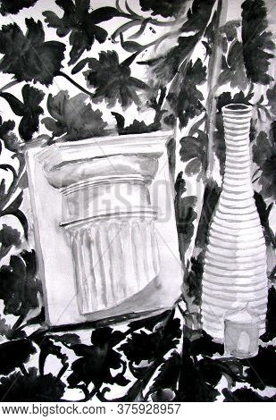 Vase, Candle And Antique Column On Mottled Drapery, Black And White Watercolor Graphic Still Life