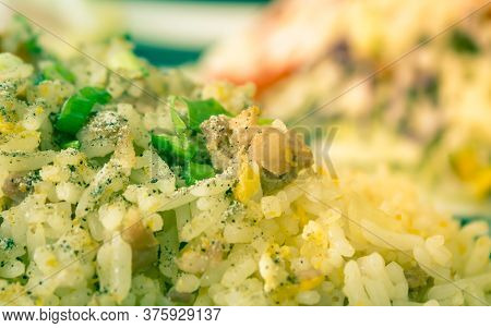 Thai Sour Pork Fried Rice And Salad In Dish With Natural Light On Left Frame In Vintage Tone