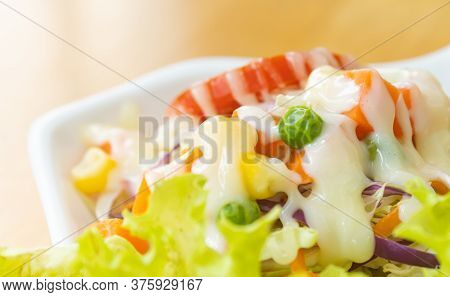 Vegan Salad Or Vegetarian Salad Include Peas And Corn And Tomato And Carrot And Cabbage And Lettuce