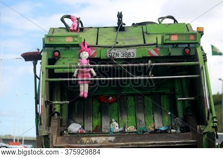 Salvador, Bahia / Brazil - July 12, 2016: Rag Doll Is Seen Hanging On A Garbage Collector Truck That