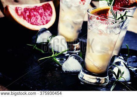 Alcoholic Cocktail, Rosemary Fizz, With Vodka, Bitter, Syrup, Honey, Grapefruit Juice, Tonic, Rosema