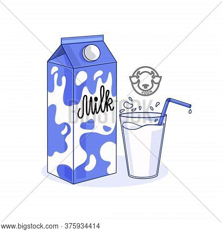 Vector Illustration Of Milk Packaging And A Glass Of Milk On A White Isolated Background. Logo. Icon