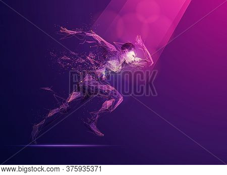 Concept Of Sport Science Technology, Polygon Runner With Futuristic Element