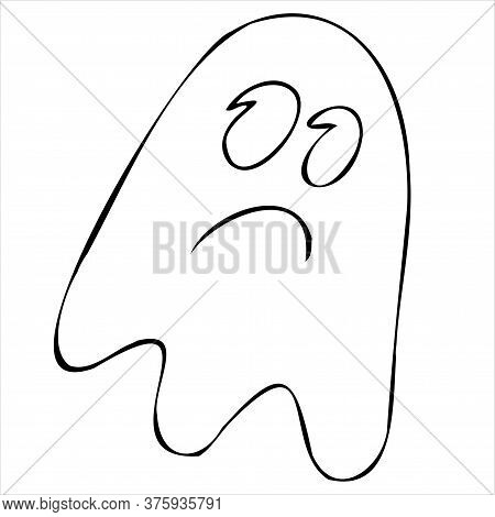 Angry Ghost, Mysticism, Paranormal, Vector Decorative Element For Halloween Celebration In Doodle St