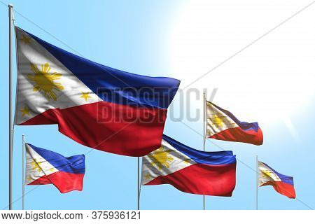 Nice 5 Flags Of Philippines Are Waving On Blue Sky Background - Any Feast Flag 3d Illustration
