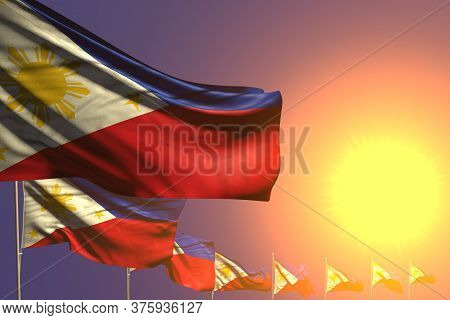 Pretty Many Philippines Flags Placed Diagonal On Sunset With Place For Your Text - Any Celebration F