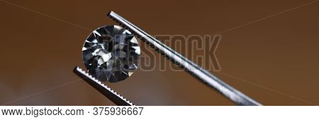 Close-up View Of Tiny Precious Beauty. Macro Shot Of Crystal Shining Gemstone. Luxury And Expensive