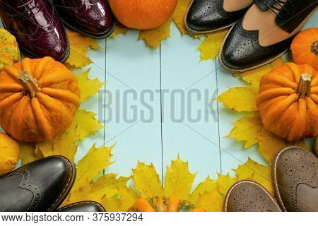Autumn Shoes . Autumn Discounts And Sales Background.fall Fashion. Leather Fashion Shoes, Maple Yell