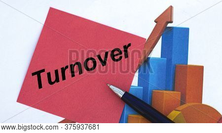 Turnover Word On A Red Sheet Of Paper With A Pen On The Background Of The Graph. Business And Financ