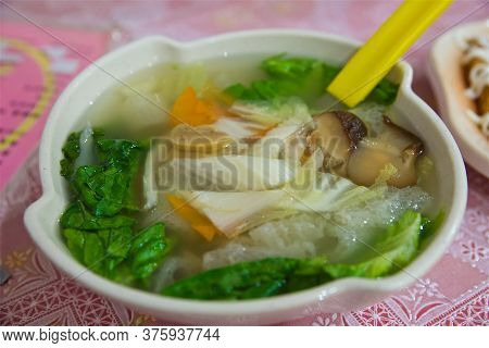 Asian Noodle Soup With Vegetables And Mushrooms, сhinese Shiitake And Cabbage, Vegetarian Dish