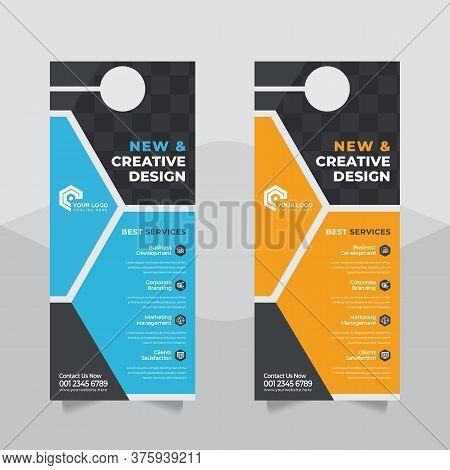 Modern Door Hanger Mockup Door Hanger Template Cooperate Door Hanger And Flyer Concept,- Vector, Cor