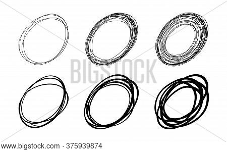 Set Of Vector Hand Drawn Oval Circles Using Sketch Drawing Scribble Lines. Doodle Circular Frame Log