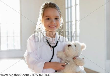 Head Shot Portrait Smiling Cute Little Girl Pretending Doctor
