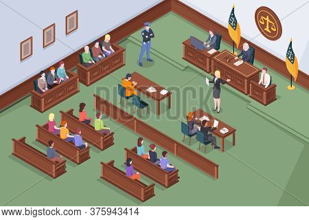 Court Hearing At Courtroom, Judge And Justice Jury At Trial Process, Vector Isometric Illustration.