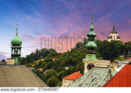 Old Slovakian mining town of Banska Stiavnica at dusk
