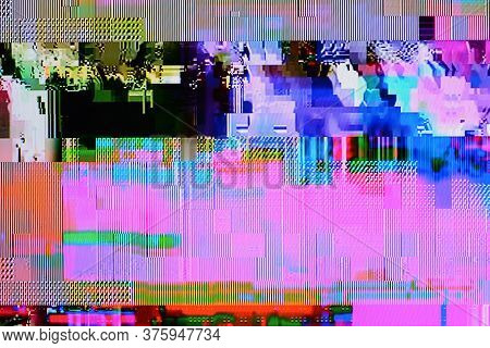Color Tv Weak Signal - Photo Taken From Color Tv Screen  (3:2 Aspect Ratio)