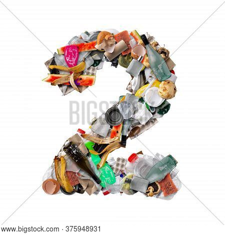 Number 2 Made Of Trash Isolated On White Background