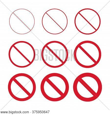 Flat Stop Icon Collection Isolated On White Background. Modern Vector Illustration. Red No Entry Sym