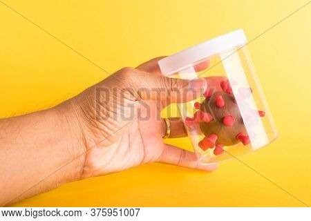 Imprison Prevent Plasticine Disease Cells Virus In Bottle And Use Hand Hold It For Research In Lab O