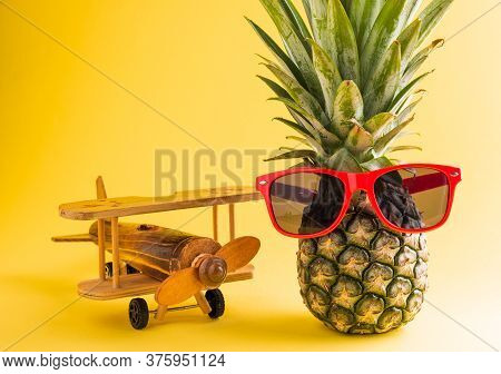Celebrate Summer Pineapple Day Concept, Funny Fresh Pineapple In Sunglasses Stands With A Model Plan
