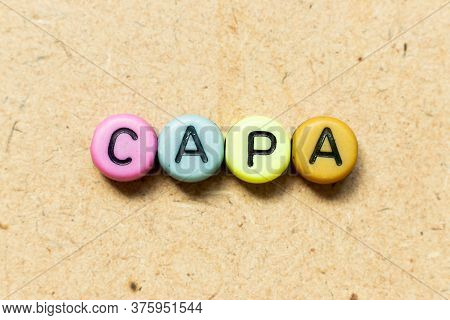 Round Color Bead With Black Letter In Word Capa (abbreviation Of Corrective Action And Preventive Ac