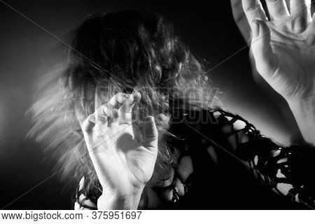 Woman Nightmare. Supernatural Force. Terrified Insane Lady Hiding From Paranormal Energy On Dark Wit