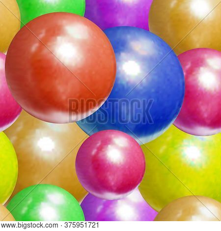 Vector Seamless Pattern, Realistic Colorful Balls, Different Bright Colors, 3d Illustration Template