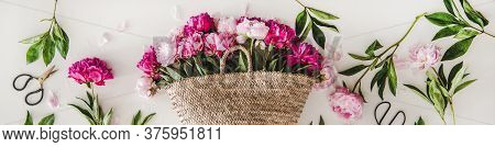 Summer Flowers Layout With Pink And Purple Peonies, Wide Composition