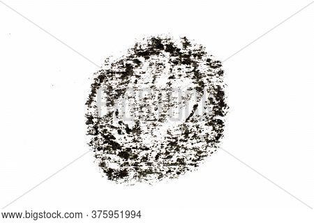 Black Color Oil Pastel Drawing In  Circle Or Round Shape On White Paper Background