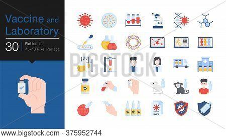 Vaccine And Laboratory Icons. Flat Design. For Presentation, Mobile Application, Web Design, Infogra