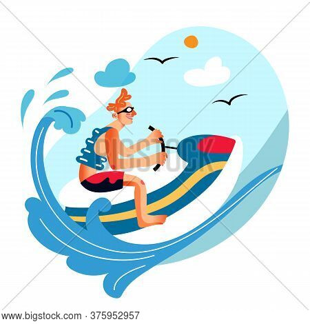 Excited Man Character Riding Jet Ski. Guy Enjoying Extreme Water Sport. Planning Summer Vacation. Su