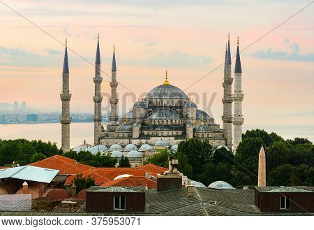 Blue Mosque And Bosphorus In Istanbul, Turkey