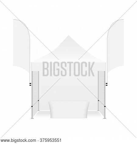 Marquee Tent For Events With Demonstration Table And Two Feather Flags, Isolated On White Background
