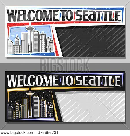 Vector Layouts For Seattle With Copyspace, Decorative Voucher With Illustration Of Modern Seattle Ci