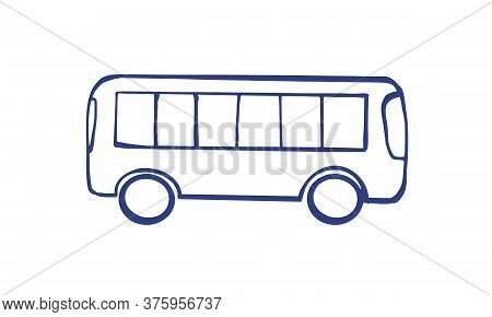 Vector Illustration Of A Bus. Public Transport Line Art Concept. Graphic Design Of A City Vehicle, B