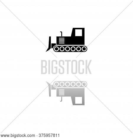 Bulldozer. Black Symbol On White Background. Simple Illustration. Flat Vector Icon. Mirror Reflectio