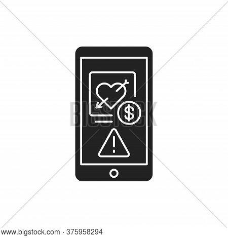 Scam Dating On Smartphone Screen Black Glyph Icon. Internet Criminal, Deception, Fraud Element. Sign