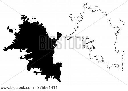 Hermosillo City (united Mexican States, Mexico, Sonora State) Map Vector Illustration, Scribble Sket