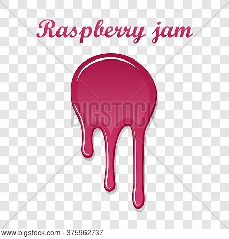 Red Raspberry Drip Confiture 3d. Berry Sweet Jam Spot Isolated White Transparent Background. Drips F
