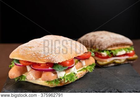 Two Diverse Sandwiches. Assortment Of Sandwiches. Two Sandwiches.