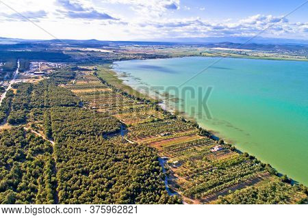 Vransko Lake And Landscape Aerial View, Dalmatia Region Of Croatia