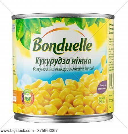 Ukraine, Kyiv - June 01. 2020:tin Can Young Corn Bonduelle On A White Background. Bonduelle Is A Fre