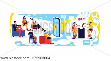 Video Streaming With Smartphone Flat Concept Vector Illustration. Podcast Hosts. Online Vloggers And