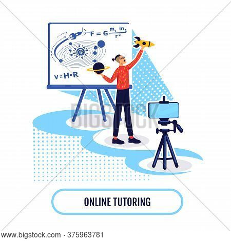 Online Academic Learning Flat Concept Vector Illustration. Stream Class On Science. Online Tutoring