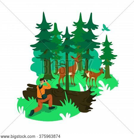Photography In Forest 2d Vector Web Banner, Poster. Deers In Conservation Woods. Wildlife Photograph