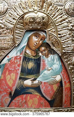 Icon With Child Jesus Christ And Virgin Mary